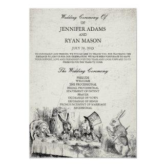 Alice im Wunderland-Hochzeits-Programm 12,7 X 17,8 Cm Einladungskarte
