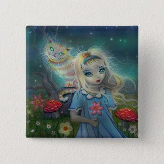 Alice im Wunderland Pinback Knopf Quadratischer Button 5,1 Cm