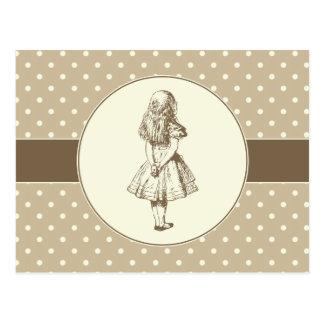 Alice im Wunderland-Polka-Punkte Postkarte