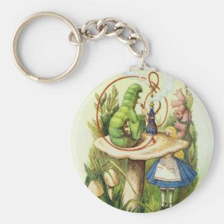 Alice im Wunderland-Raupehookah-Knopf Schlüsselanhänger