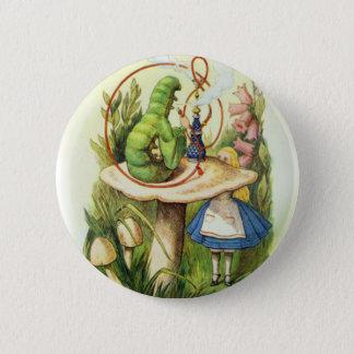 Alice im Wunderland-Raupen-Knopf Runder Button 5,1 Cm