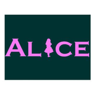 Alice im Wunderland-Rosa Postkarte