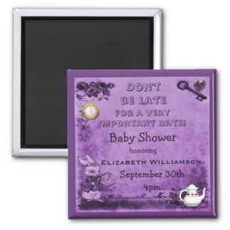 Alice im Wunderland-Save the Date Baby-Dusche Quadratischer Magnet
