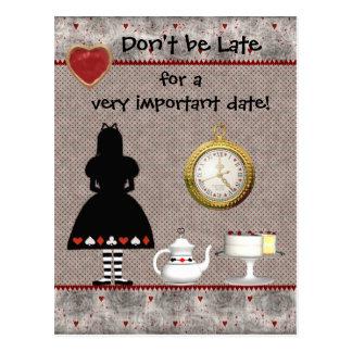 Alice im Wunderland Save the Date, die Postkarte