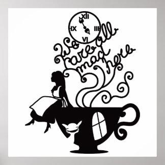Alice im Wunderland. Silhouetteillustration Poster