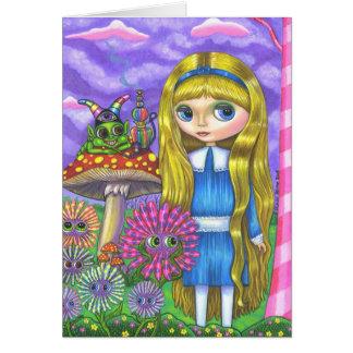 Alice im Wunderland und die Raupe Grußkarte