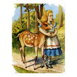 Alice im Wunderland und die Rotwild Postkarte