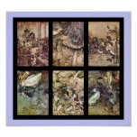Alice im Wunderland-Vintages Plakat-Set von 6 Bild