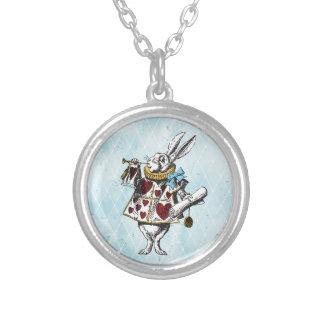 Alice im Wunderland-Weiß-Kaninchen Halskette Mit Rundem Anhänger
