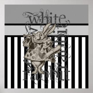 Alice im Wunderland-weißer KaninchenGrunge Posterdrucke