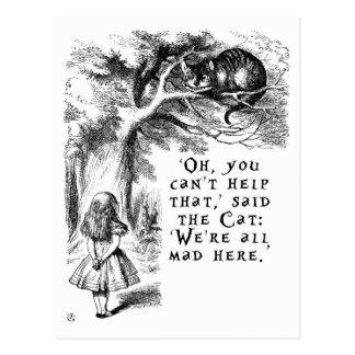Alice im Wunderland - wir sind alle hier wütend Postkarte
