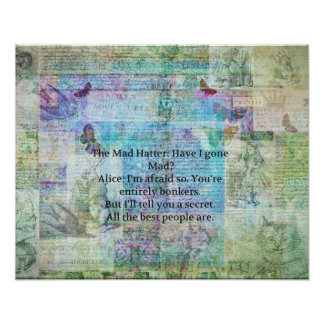 Alice im Wunderland-wunderliches Bonkers Zitat Poster