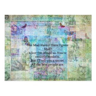 Alice im Wunderland-wunderliches Bonkers Zitat Postkarte