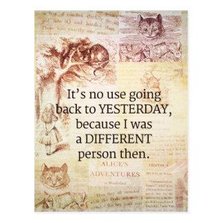 Alice im Wunderland-wunderliches Zitat Postkarte