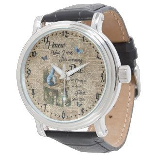 Alice im Wunderland-Zitat-Vintage Wörterbuch-Kunst Armbanduhr