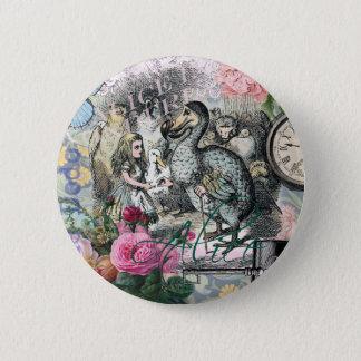 Alice im Wunderlanddodo-Vogel-Collage Runder Button 5,7 Cm