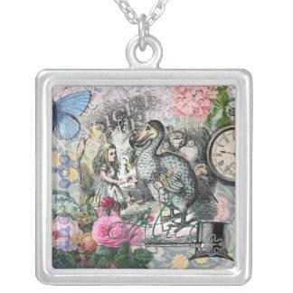 Alice im Wunderlanddodo-Vogel-Collage Versilberte Kette