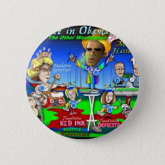 Alice in ObamaLand Runder Button 5,7 Cm