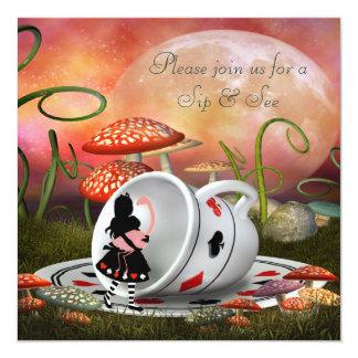 Alice- u. Flamingo-Schlückchen u. sehen Babyparty Quadratische 13,3 Cm Einladungskarte