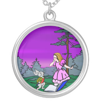 Alice u. Kaninchen im Märchenland-Wald Versilberte Kette