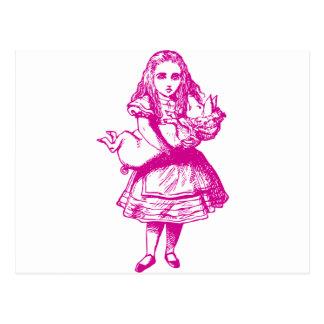 Alice und das Schwein-Baby-Rosa Postkarte