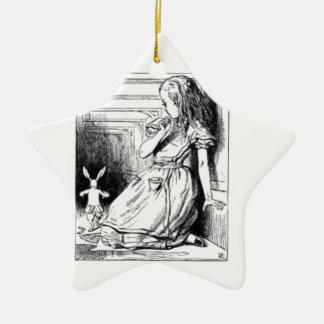 Alice und das weiße Kaninchen Keramik Ornament