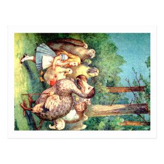 Alice und der Dodo-Vogel im Märchenland Postkarte