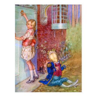 Alice und der Frosch-Lakai bei Doorway der Postkarte