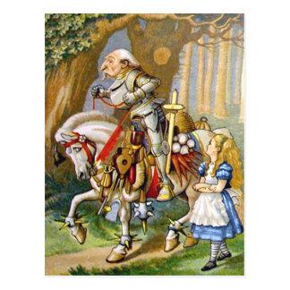 Alice und der weiße Ritter im Märchenland Postkarte