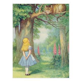 Alice und die Cheshire-Katze Postkarte