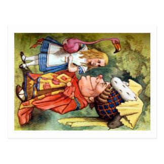 Alice und die Herzogin Play Flamingo Croquet Postkarte