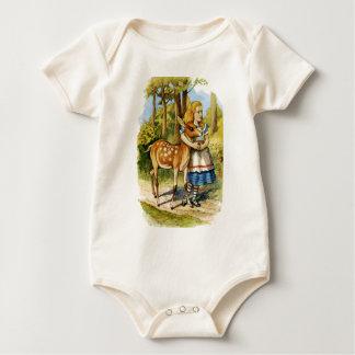 Alice und die jungen Rotwild im Märchenland Baby Strampler