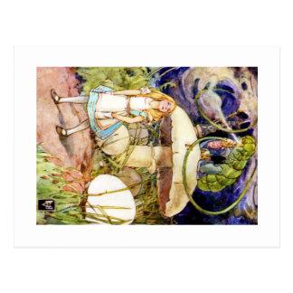 Alice und die Raupe im Märchenland Postkarte