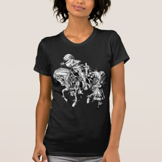 Alice und weißer Ritter mit Tinte geschwärzt T-Shirt