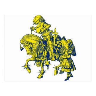 Alice und weißer Ritter schwärzten blaues Gelb mit Postkarte