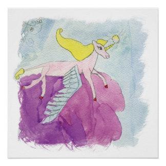 Alicorn Winged rosa Pony-Pferd Poster