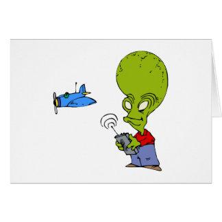 Alien, das Spielzeug-Flugzeug fliegt Karte