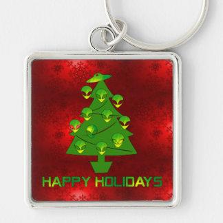 Alien-Feiertags-Baum Schlüsselanhänger