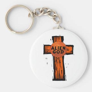 Alien-Gott-Kreuz Schlüsselanhänger