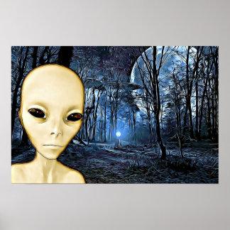 Alien graues UFO-Invasions-Plakat Poster