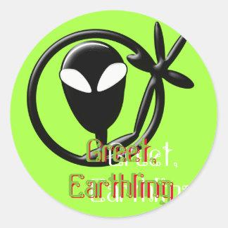 Alien grüßen Erdenbürger Runder Aufkleber