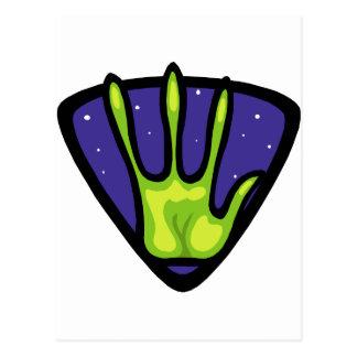 Alien-Handdruck Postkarte