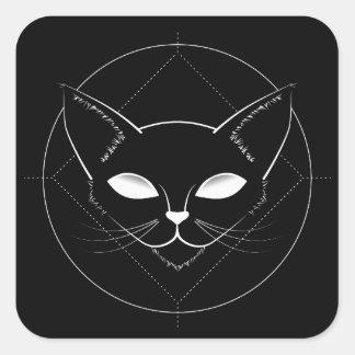 Alien-Katzen-Schwarzaufkleber Quadratischer Aufkleber