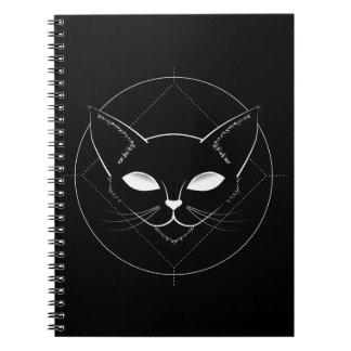 Alien-Katzen-Schwarznotizbuch Spiral Notizblock