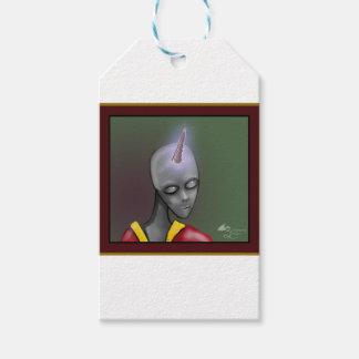 Alien mit Unicorn-Horn-grauem grauem alien Geschenkanhänger