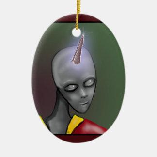 Alien mit Unicorn-Horn-grauem grauem alien Keramik Ornament