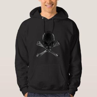 Alien-Schädel und gekreuzte Knochenschwarzer Hoodie