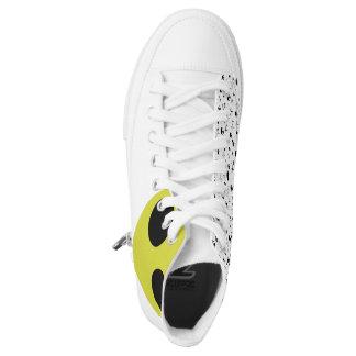 Alien-Tritte - große Grafik + Raum-Muster Hoch-geschnittene Sneaker