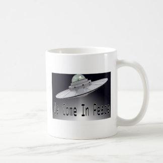 """ALIEN-UFO """"WIR KOMMEN IN FRIEDEN """" KAFFEETASSE"""