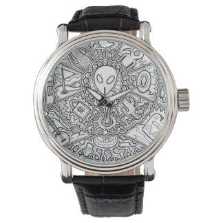 AlienMandala Schwarzweiss Armbanduhr